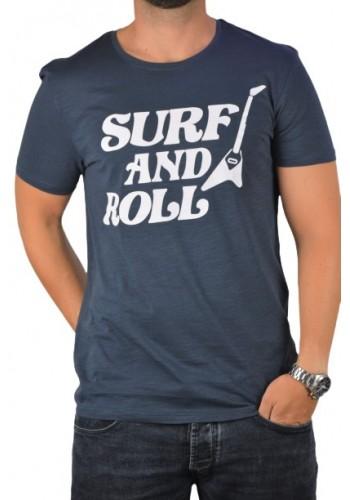 Ανδρικό t-shirt με graphic print Sublevel 4064-19400 μπλέ
