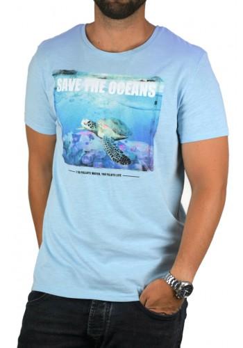 Ανδρικό t-shirt  photo print Stitch & Soul  γαλάζιο
