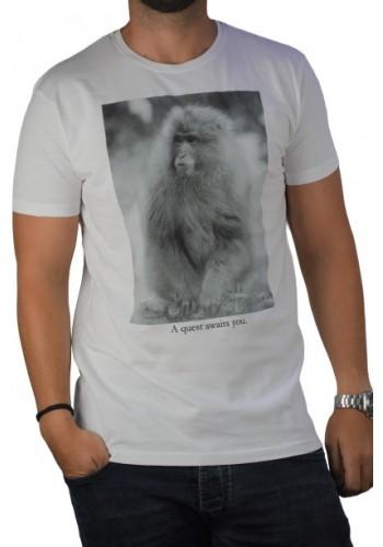 Ανδρικό t-shirt  με graphic print Stitch & Soul  λευκό
