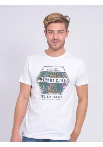 Aνδρικό t-shirt  Ritchie Νibou με στάμπα λευκό