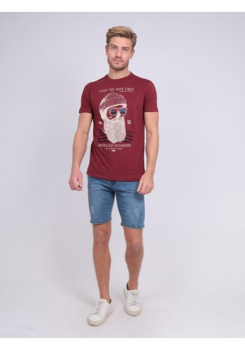Aνδρικό T-Shirt με τυπωμένο σχέδιο Ritchie μπορντό