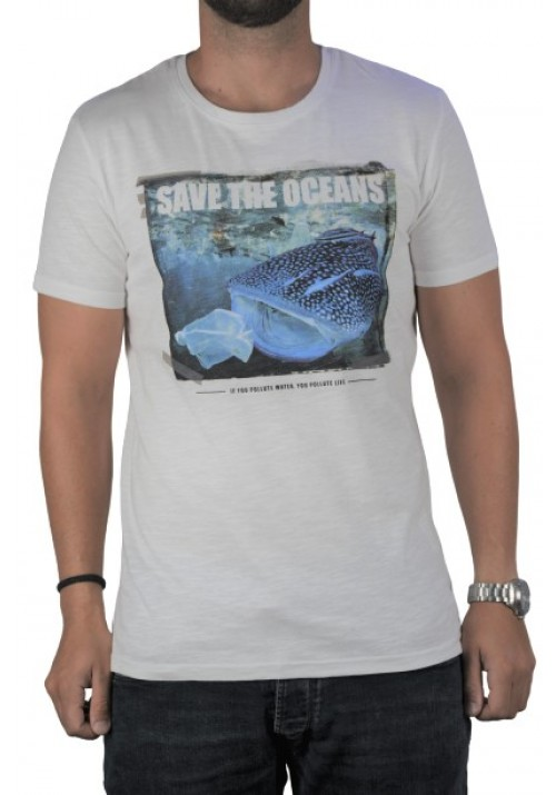 Ανδρικό Τ-Shirt Stitch & Soul 22000-01 με στάμπα λευκό